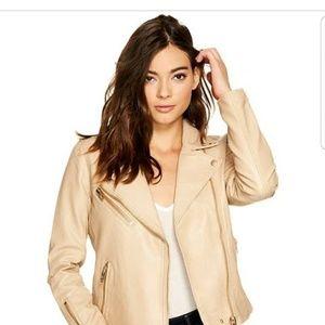 Blanknyc Vegan Tan Faux Leather Moto Jacket